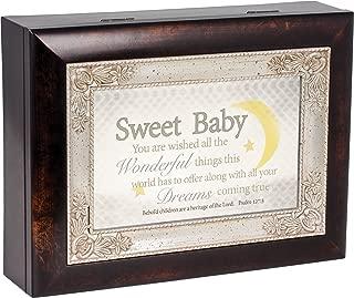Sweet Baby Moon Dark Wood Finish Jewelry Music Box Plays Tune Jesus Loves Me