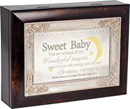 Sweet Baby Moon Dark Wood Finish Jewelry Music Box Plays Tune Jesus Loves Me