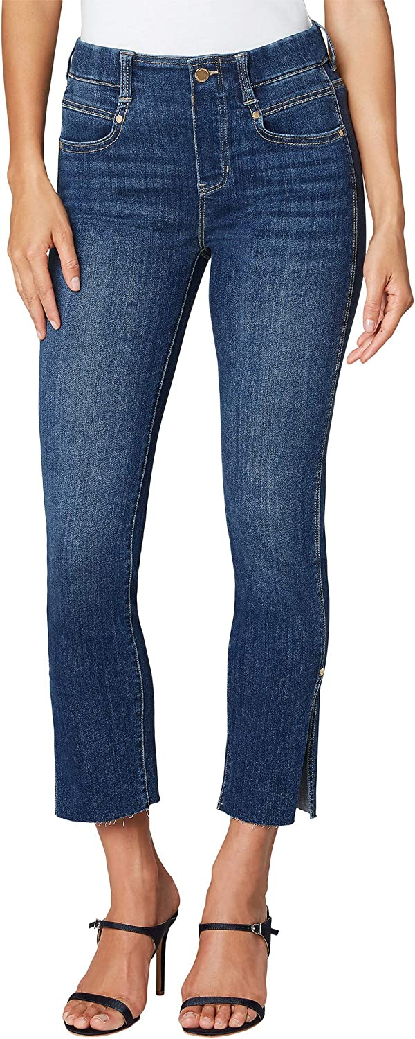 Liverpool Gia Glider Crop Jeans with Cut Hem Slit in Bronte