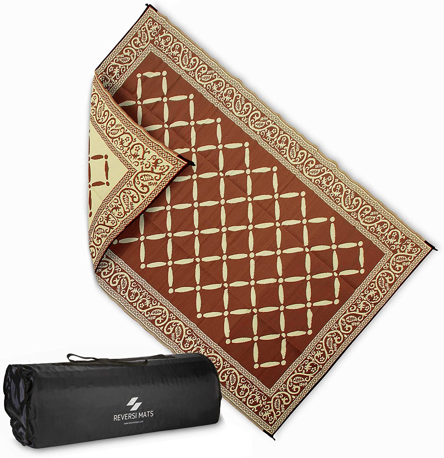AdvenGo Reversi Mats (6' x 9') Medium Mat and Rug for Outdoors, RV, Patio, Trailer & Camping - Heavy Duty, Weather Resistant Reversible Rugs - Comes with Storage Bag - Great for Picnics - Brown Beige