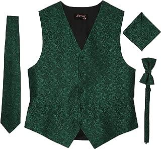 Men's Formal Tuxedo Suit Vest Paisley Tie Bowtie and Pocket Square 4 Peace Set Verity of Colors