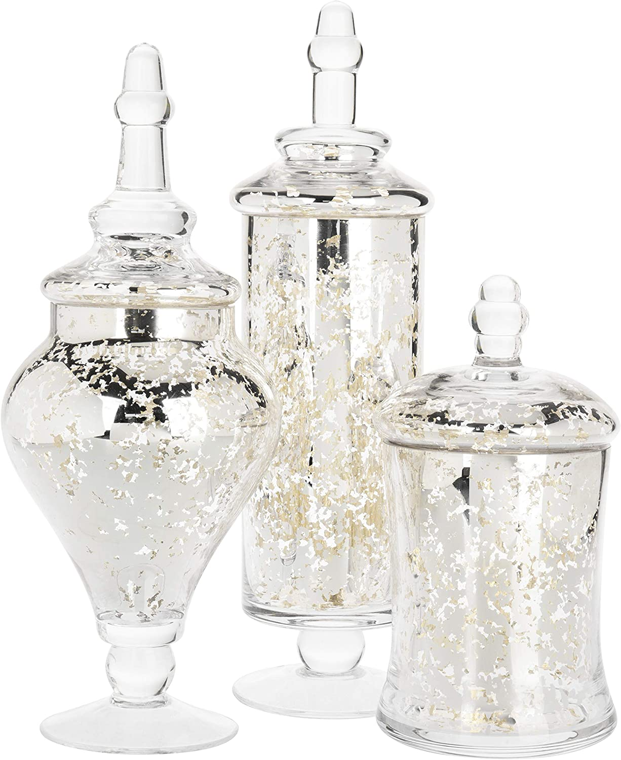 MyGift Set of 3 Silver Mercury Chicago Popularity Mall C Jars Weddings Apothecary Glass