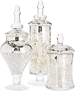 MyGift Set of 3 Silver Mercury Glass Apothecary Jars, Weddings Centerpiece Candy Buffet
