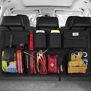 SURDOCA 車載收納袋 座椅后口袋 修身 大容量 省空間 不落穩定設計 帶魔術貼 耐磨 安裝簡單 適用于卡車/SUV/輕型汽車等大中小型車 汽車用品 后座用 收納袋 黑色 灰色 (黑色)