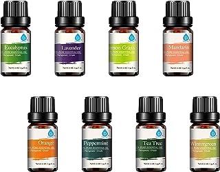 :Pursonic 100% Pure Essential Aromatherapy Oils Gift Set-8 Pack, 10ML Eucalyptus, Lavender, Lemongrass, Mandarin, Orange, ...