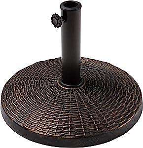 MEWAY Umbrella Base,Heavy Duty Patio Umbrella Base Round Antiqued Patio Umbrella Base for 7.5ft/9ft/10ft/11ft Patio Umbrella, Bronze