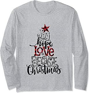 Christmas Tee, Joy Hope Love Peace Christmas, Christmas Tree Long Sleeve T-Shirt