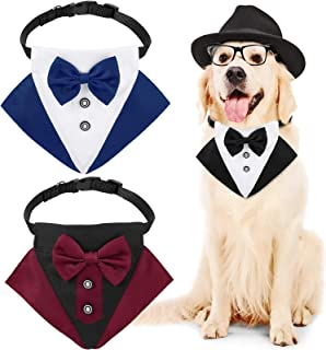 3 Pieces Pets Dog Formal Neck Tie Tuxedo Bow Tie and Collar Dog Wedding Bandanas Dog Collar with Bow Tie and Neck Tie Designs Adjustable Neckerchief Collar Formal Tux Dog Bowtie for Big and Medium Dog