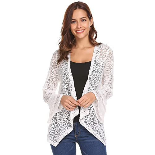 0dcea84dd3420 Concep Women s Bell Sleeve Cardigan Lace Crochet Casual Tops Sheer Cover Up Plus  Size