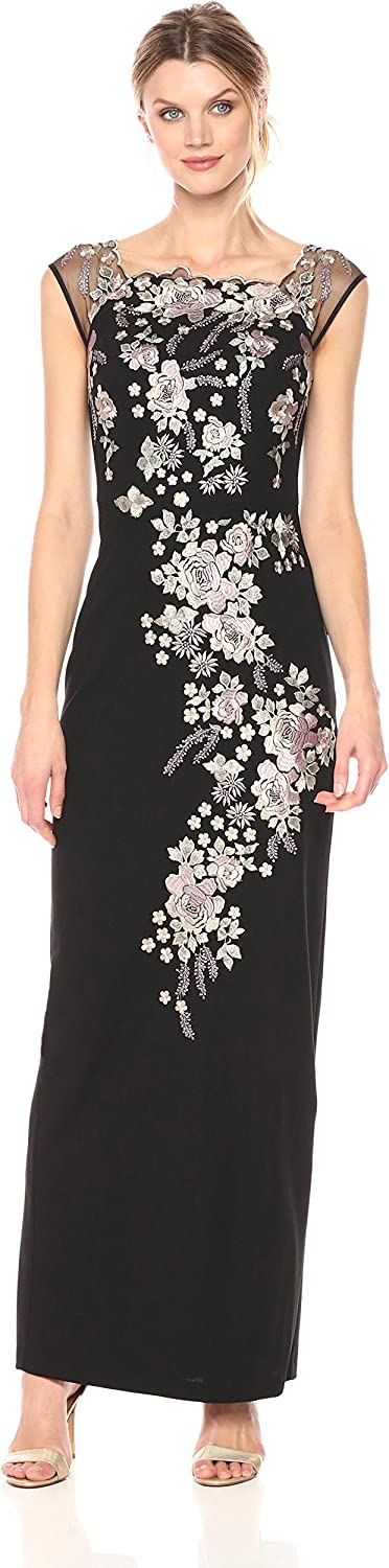 Decode 1.8 Womens Long Gown with Floral Applique Special Occasion Dress