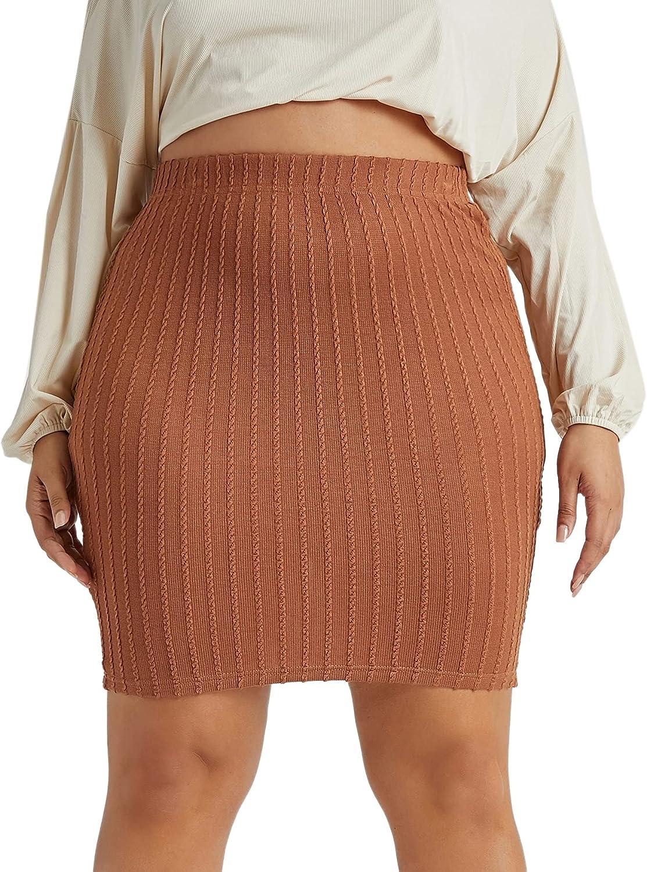 Floerns Women's Plus Size Solid Textured Pencil Bodycon Mini Skirt