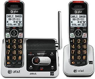 AT&T Teléfono DECT 6.0 con identificación de Llamada/Espera de Llamada, 2 Auriculares inalámbricos, Cristal