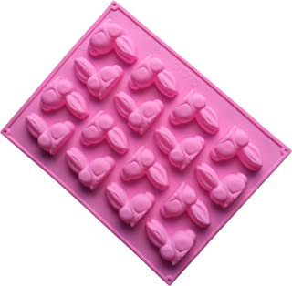 Always Your Chef 16-Cavity Reusable Silicone Chocolate Candy Molds Jello Molds Birthday Party Bunny Shaped Cake Decoration Molds, Random Colors