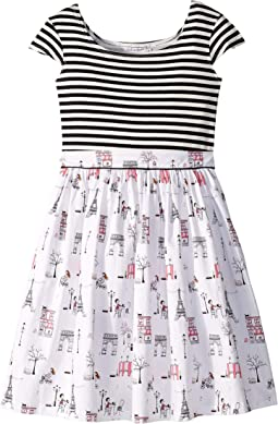 Maddy Café Black Stripe Dress (Little Kids/Big Kids)