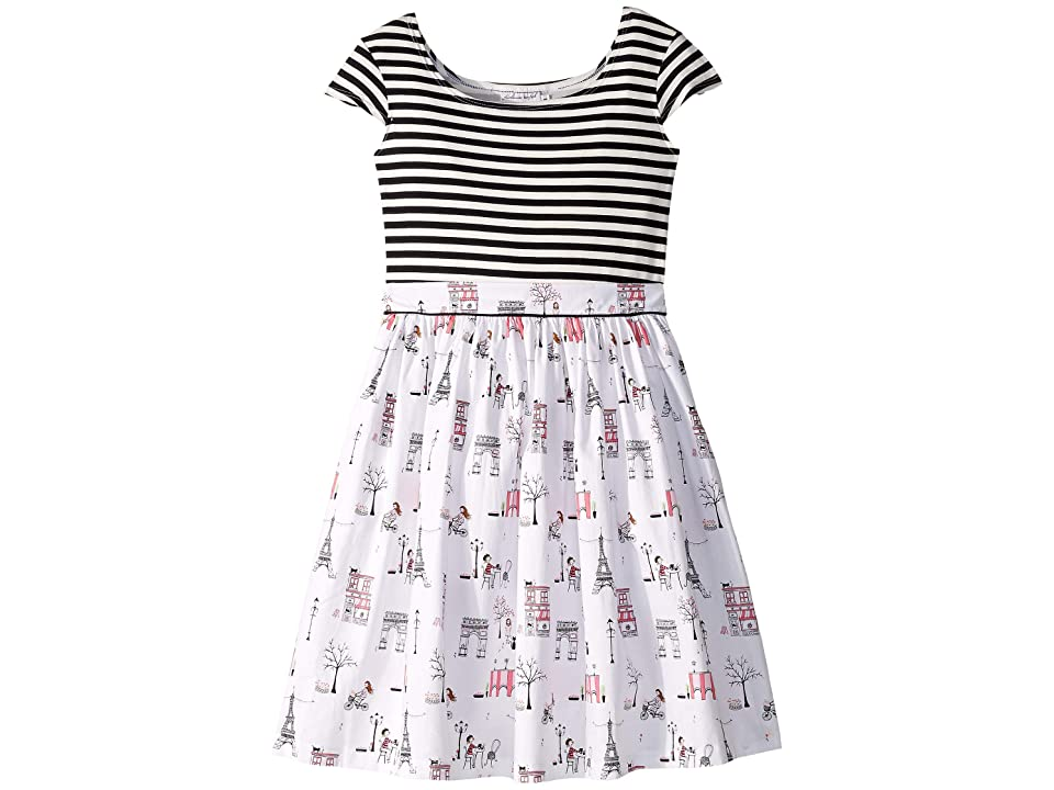 fiveloaves twofish Maddy Cafe Black Stripe Dress (Little Kids/Big Kids) (Black/White) Girl