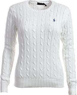 Ralph Lauren Women's Crewneck Cable Knit Pony Logo Sweater (M, White)
