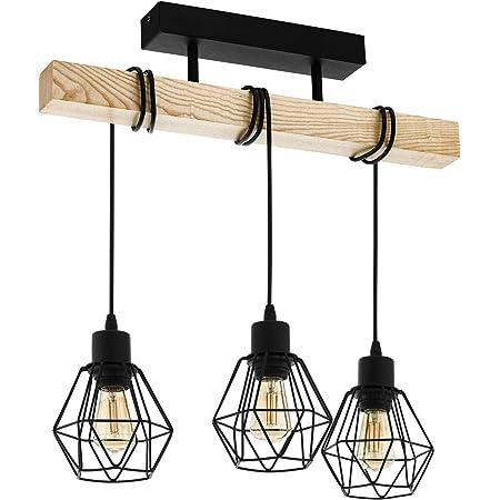 EGLO Suspension luminaire Townshend 5, lustre à 3 lampes, abat-jour suspendus au design vintage et industriel, éclairage rétro en acier noir et bois, douille E27
