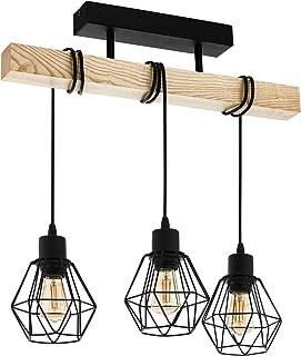 EGLO Lampe de Plafond Townshend 5, Plafonnier Vintage à 3 Flammes Au design Industriel, Suspension Rétro en Acier et enBoi...