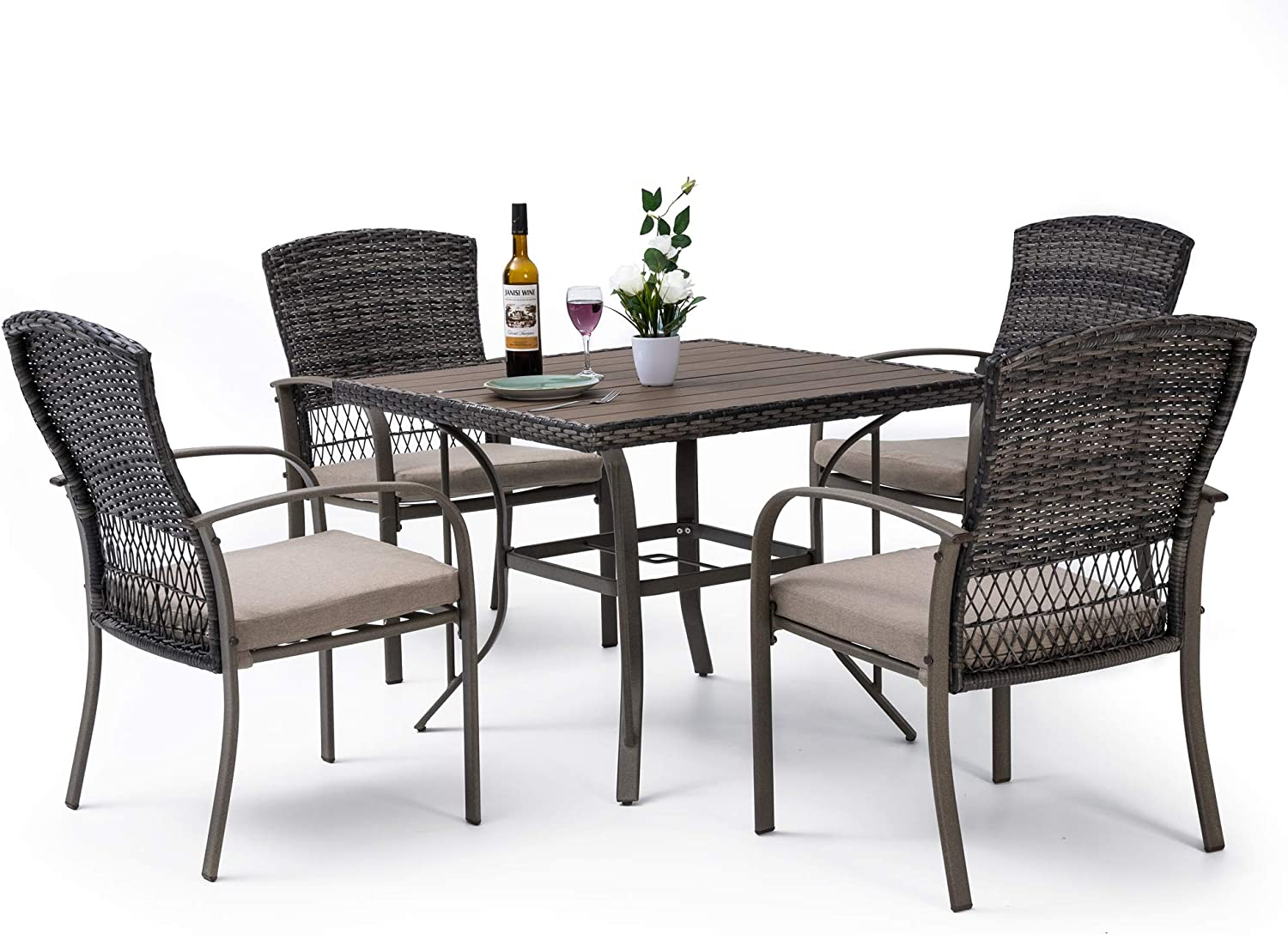 Pamapic 9 Piece Patio Dining Set, Outdoor Dining Table Set, Patio Wicker  Furniture Set with Square Plastic Wood Table Top and Washable Cushions for  ...