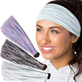 Hipsy Adjustable & Stretchy Xflex Band Wide Sports Headbands for Women Girls & Teens