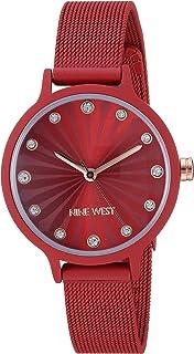 Nine West NW/2340RDRD - Reloj de pulsera para mujer, malla de goma, color rojo