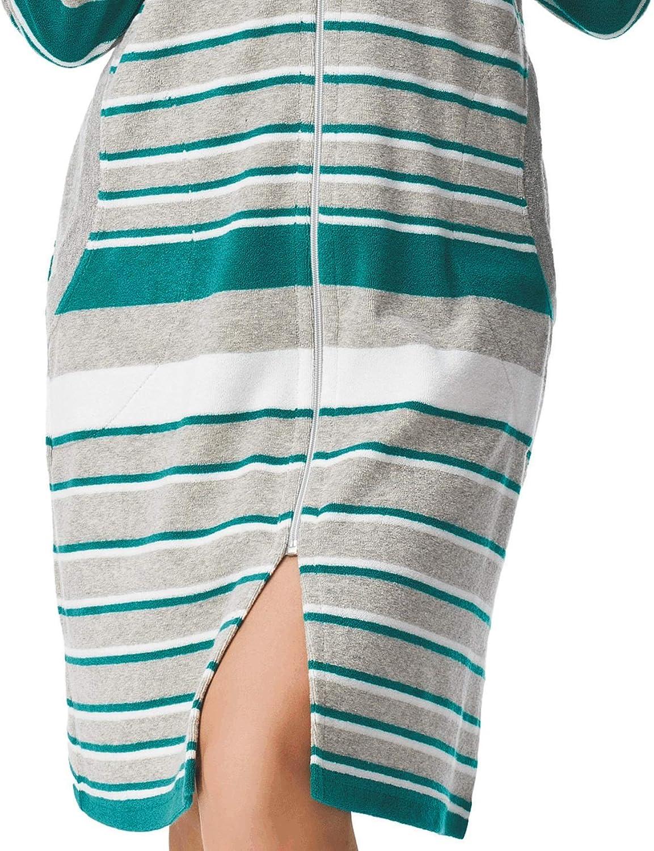 DOROTA kuscheliger und moderner Baumwoll-Bademantel mit Reißverschluss und Kapuze oder mit zusätzlichem Bindegürtel Grün-gestreift mit Kapuze