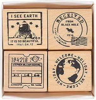 MissOrange『木製ゴム印セット』宇宙旅行 クリエイティブスタンプセット クラフトカード スクラップブッキング 手帳用 4個セットM-34 (1)