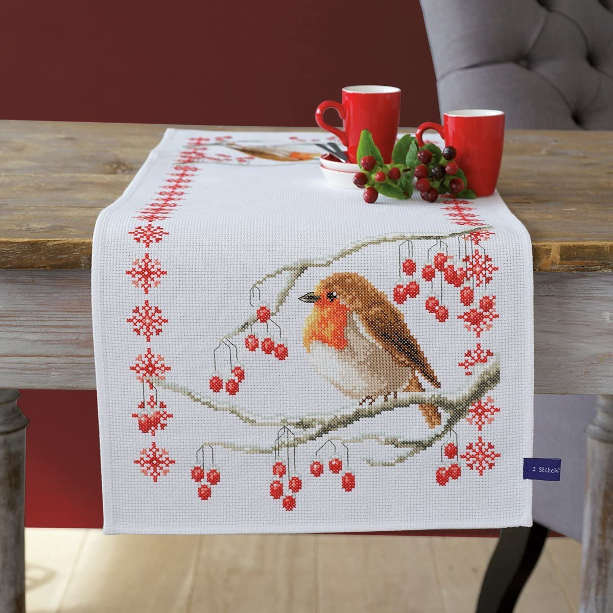 Vervaco Proud Robin Table Counted Spasm price Runner Cross-Stitch Kit Cheap mail order shopping