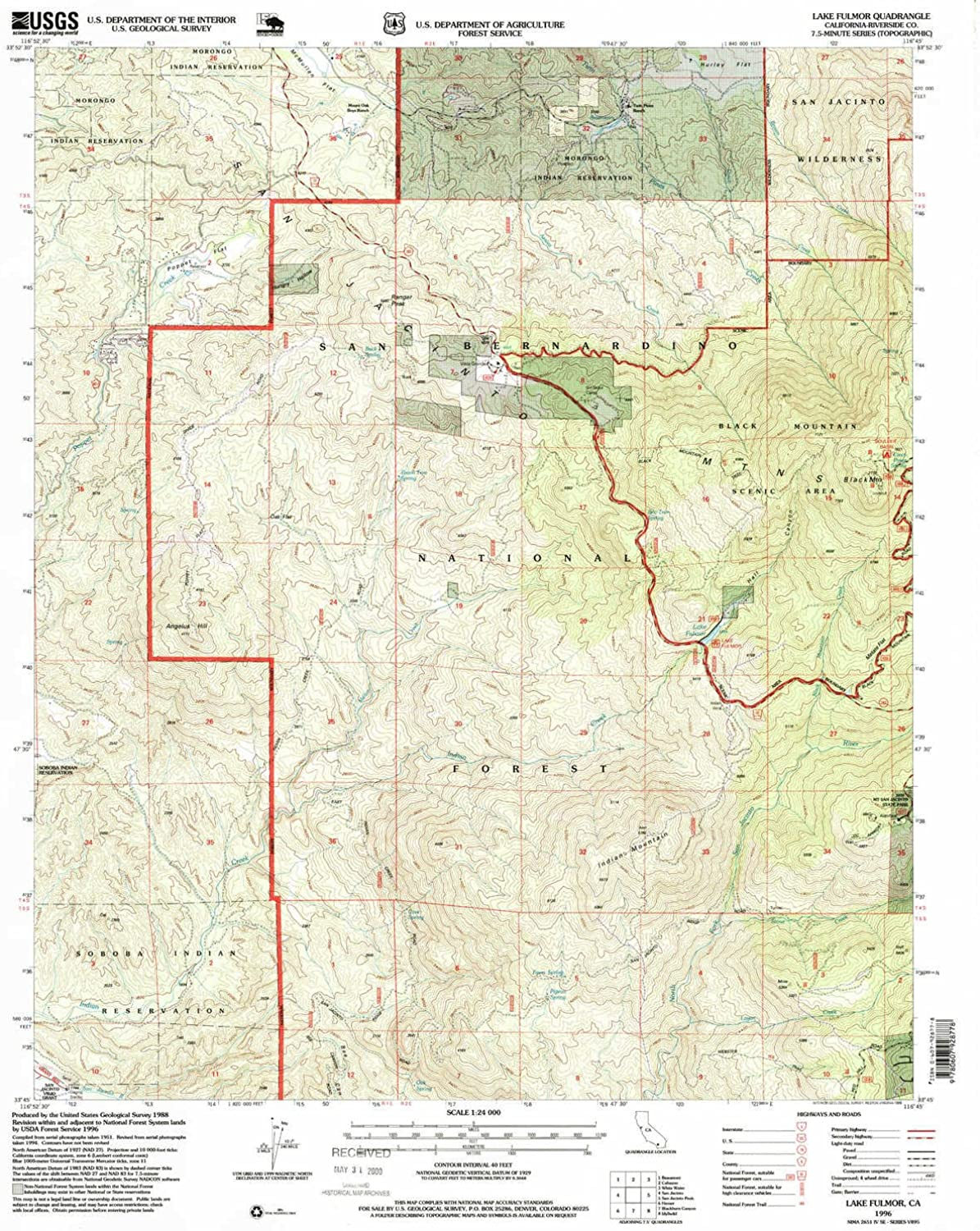Lake Fulmor CA topo map, 1 24000 Scale, 7.5 X 7.5 Minute, Historical, 1996, Updated 1999, 26.8 x 22 in