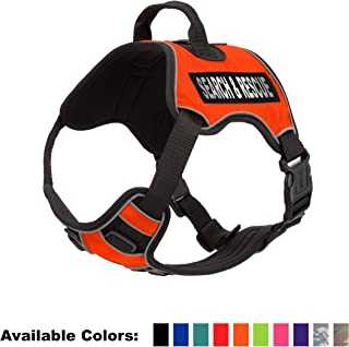 Dogline Quest No-Pull Dog Harness with Search & Rescue Reflective Removable Patches Reflective Soft Comfortable Dog Vest with Quick Release Dual Buckles Black Hardware and Handle