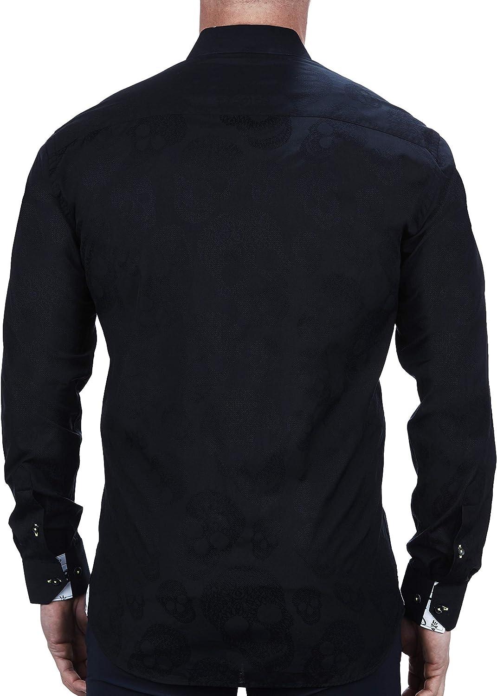 Maceoo Mens Designer Dress Shirt - Stylish & Trendy - Fibonacci Skull Black - Tailored Fit