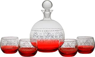 Fifth Avenue Tracy Porter Red Crystal 5 Piece Elegant Decorative Whiskey Decanter Set Ornate Top Lead Free Glass with 4 Glasses for Wine, Bourbon, Brandy, Liquor and Water – Makes For an Ideal Gift