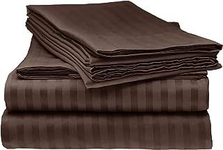 ITALIAN STRIPED 4PC KING Sheet Set, CHOCOLATE