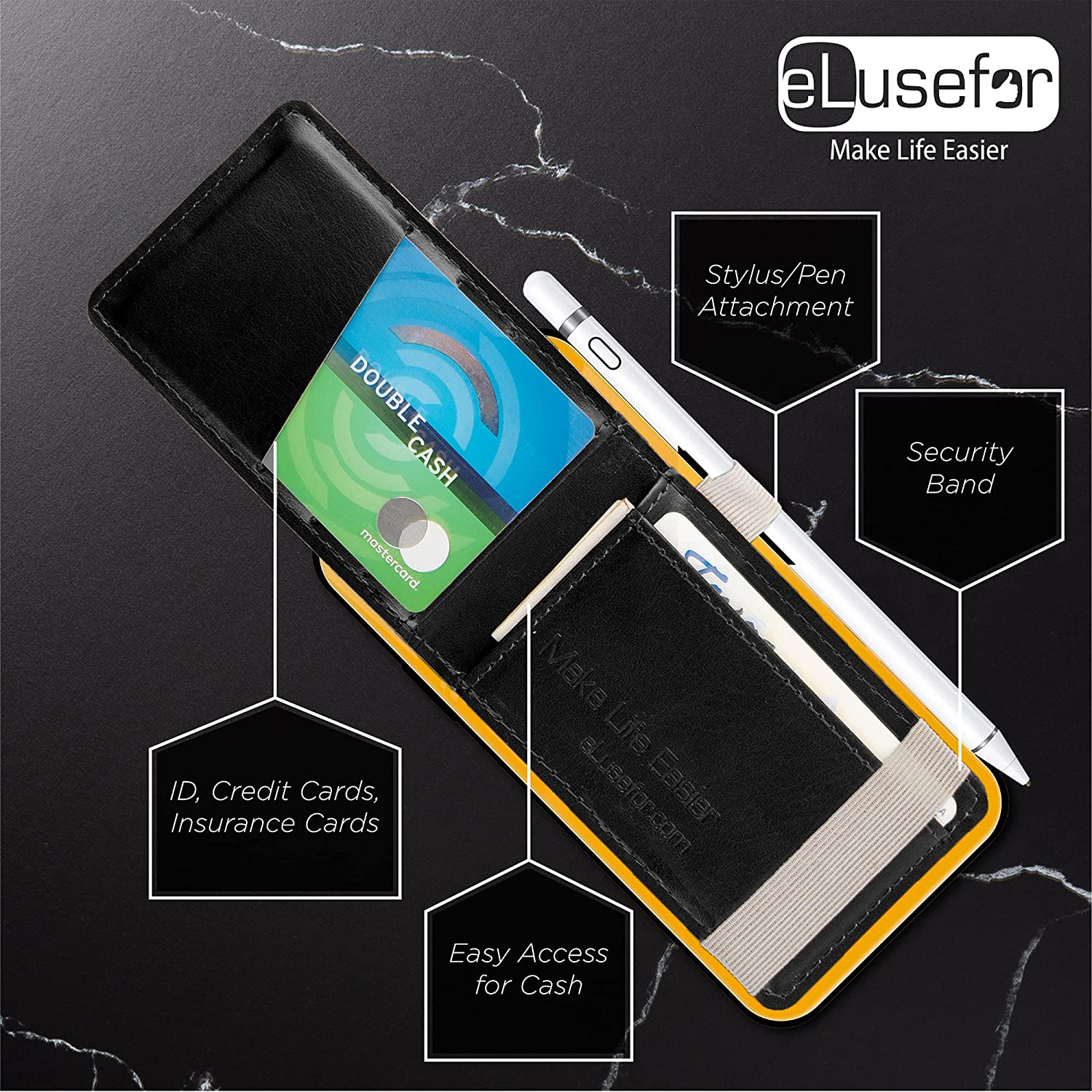 Buy eLusefor Stick-On Phone Wallet & Card Holder for Back of iPhone or Android  Case (Black) Online in USA. B096HCDDYX