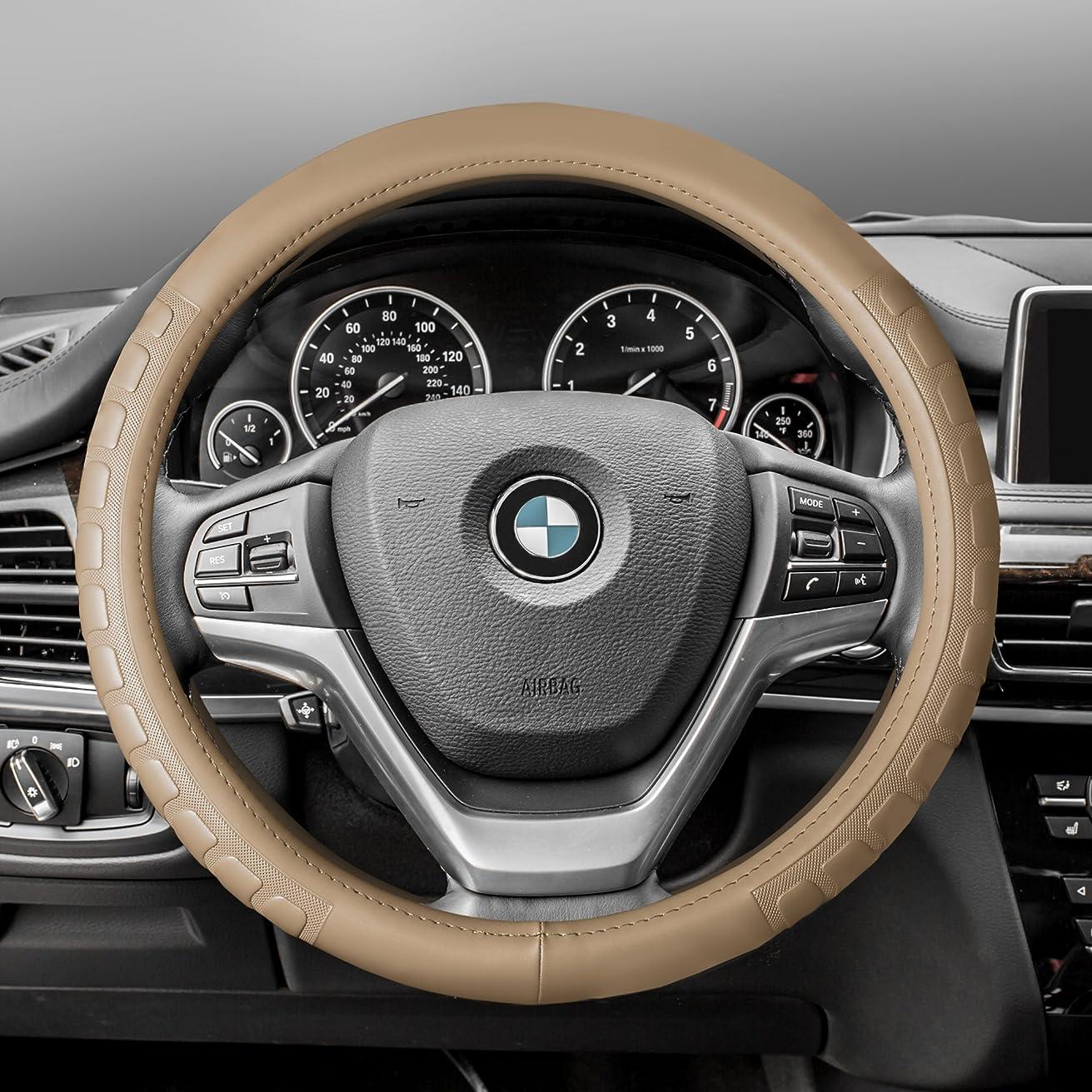 FH Group FH2006BEIGE Steering Wheel Cover (Microfiber Embossed Leather Beige)