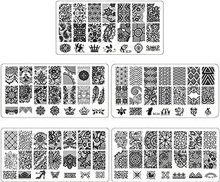 Gosear 5PCS Moda Encaje uñas Arte Placa de estampación Plantillas Conjunto para el salón Profesional del hogar Principiant...