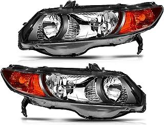 LBRST Headlight Assembly For Honda Civic 2006-2011 Black Housing Amber Reflector Clear Lens Driver And Passenger Side Headlamp