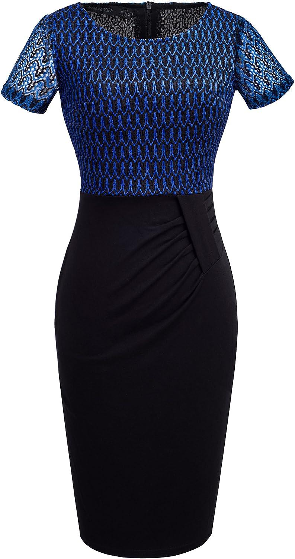HOMEYEE Women's Short Sleeve Net Patchwork Church Wear to Work Dress B372