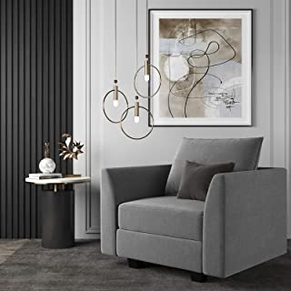 HONBAY Modern Arm Accent Chair Fabric Armchair Single Sofa Club Chair, Grey