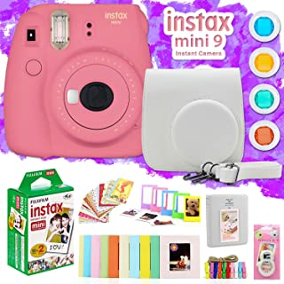 Fujifilm Instax Mini 9 Instant Camera w/Deco Gear Accessories & Film (Flamingo Pink)