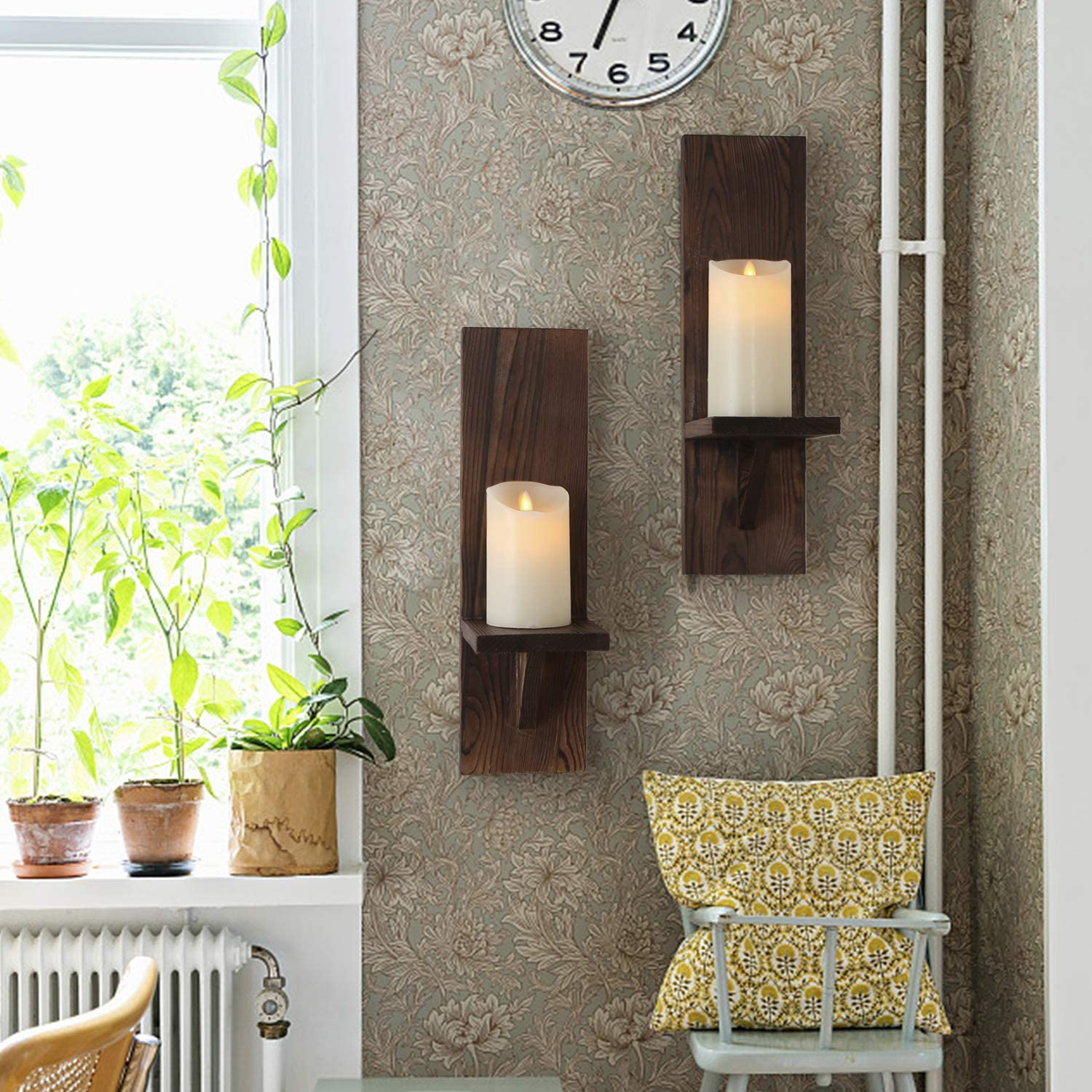Farmhouse Candle Flowers Vase Wall Shelf for Bathroom Bedroom Living Room Kitchen Office and More DOCMON Rustic Wall Decor Floating Shelves Wall Mount Rustic Candle Holders