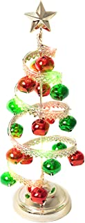 Varmax Mini Christmas Tree Prelit Helical Tabletop Tree 15 inches, Silk, Green and Gold