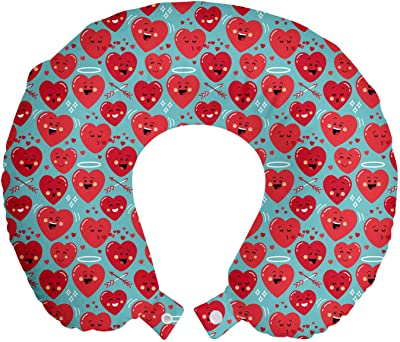 """Ambesonne Valentine's Day Travel Pillow Neck Rest, Smiling Funny Cartoon Characters on Turquoise Backdrop, Memory Foam Traveling Accessory for Airplane and Car, 12"""", Grey Dark Coral"""