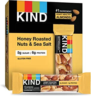 KIND Bars, Honey Roasted Nuts & Sea Salt, Gluten Free, Low Sugar, 1.4oz, 12 Count