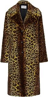Stand Women's Fanny Faux Fur Leopard Print Coat Yellow