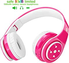 Kids Headphones Bluetooth Wireless 85db Volume Limited Childrens Headset, up to 6-8 Hours Play, Stereo Sound, SD Card Slot, Over-Ear and Build-in Mic Wireless/Wired Headphones for Boys Girls(Pink)