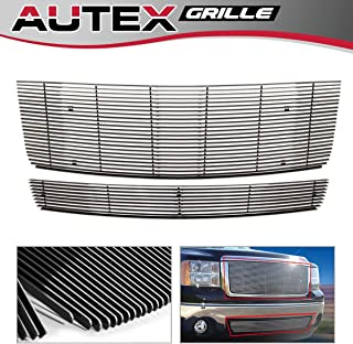 AUTEX Polished Aluminum Main Upper Billet Grille +Lower Bumper Grill Insert Combo Compatible with GMC Sierra 1500 New Body 2007-2013/Denali 2007-2010 Grille G67860A