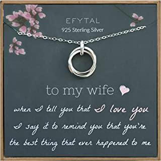 EFYTAL Wife Gifts, Wife Birthday Gift Ideas For Her, Romantic Sterling Silver 925 2 Thick Interlocking Circles Necklace Jewelry for Women, Cute Anniversary / Valentines Day Present