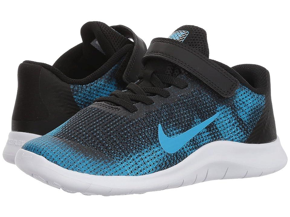 Nike Kids Flex Run 2018 (Little Kid) (Black/Equator Blue/White) Boys Shoes