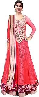 Pop Mantra Women's net anarkali Salwar Suit Set (70747C_ Pink_ Xxx-Large)